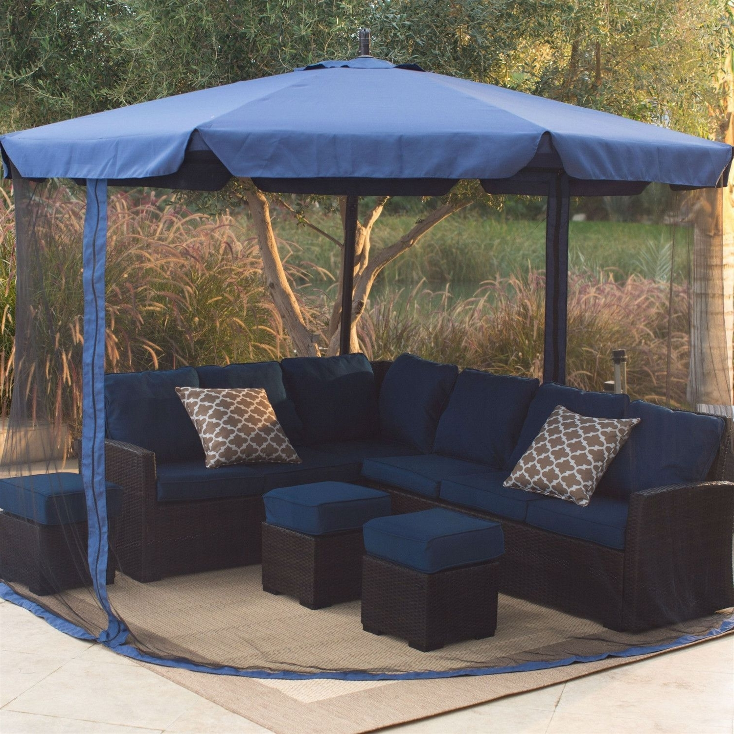 2019 11 Ft Cantilever Crank Lift Patio Umbrella In Blue With Removable Throughout 11 Ft Patio Umbrellas (View 6 of 20)