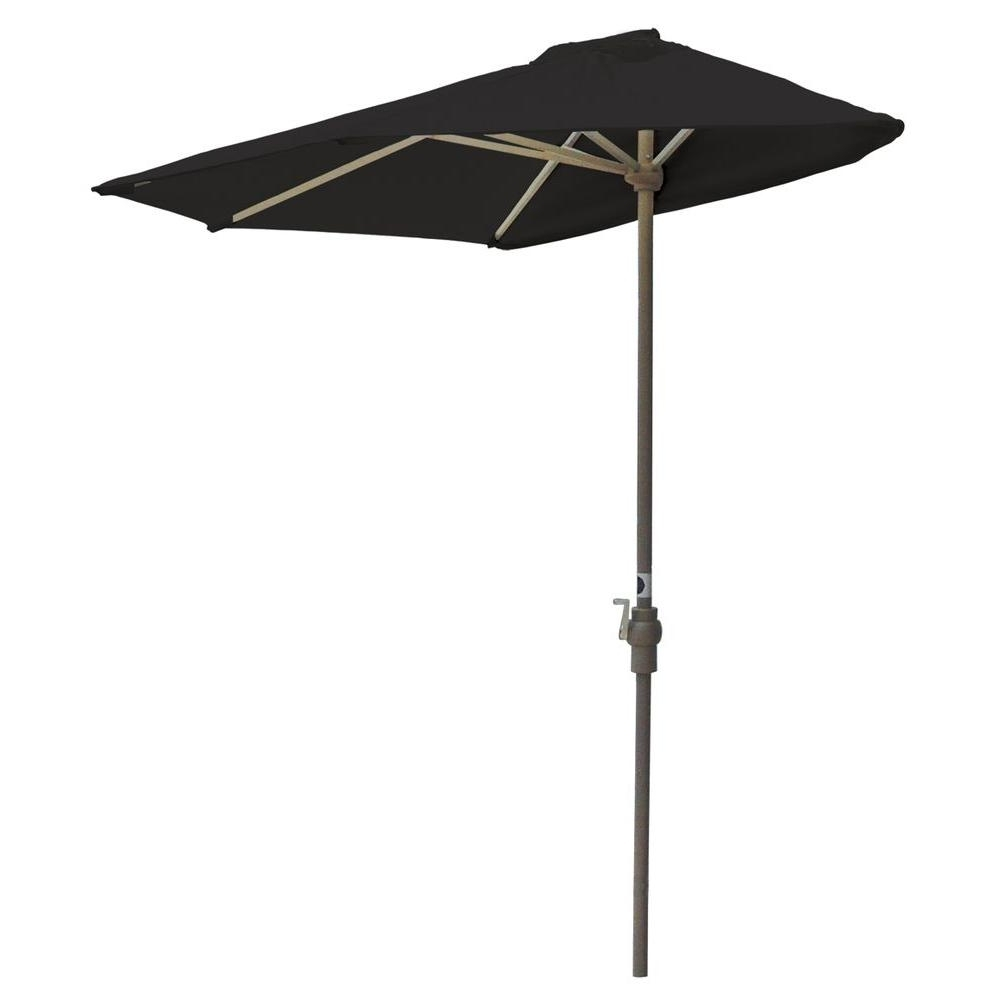 2019 Blue Star Group Off The Wall Brella 7.5 Ft. Patio Half Umbrella In Regarding Sunbrella Black Patio Umbrellas (Gallery 1 of 20)