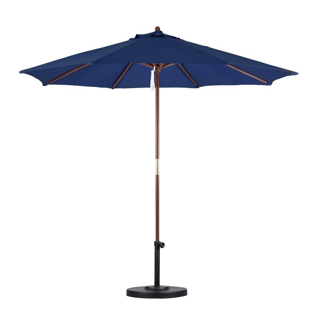 2019 California Umbrella 9 Ft. Wood Pulley Open Patio Umbrella In Navy With Regard To Wooden Patio Umbrellas (Gallery 9 of 20)
