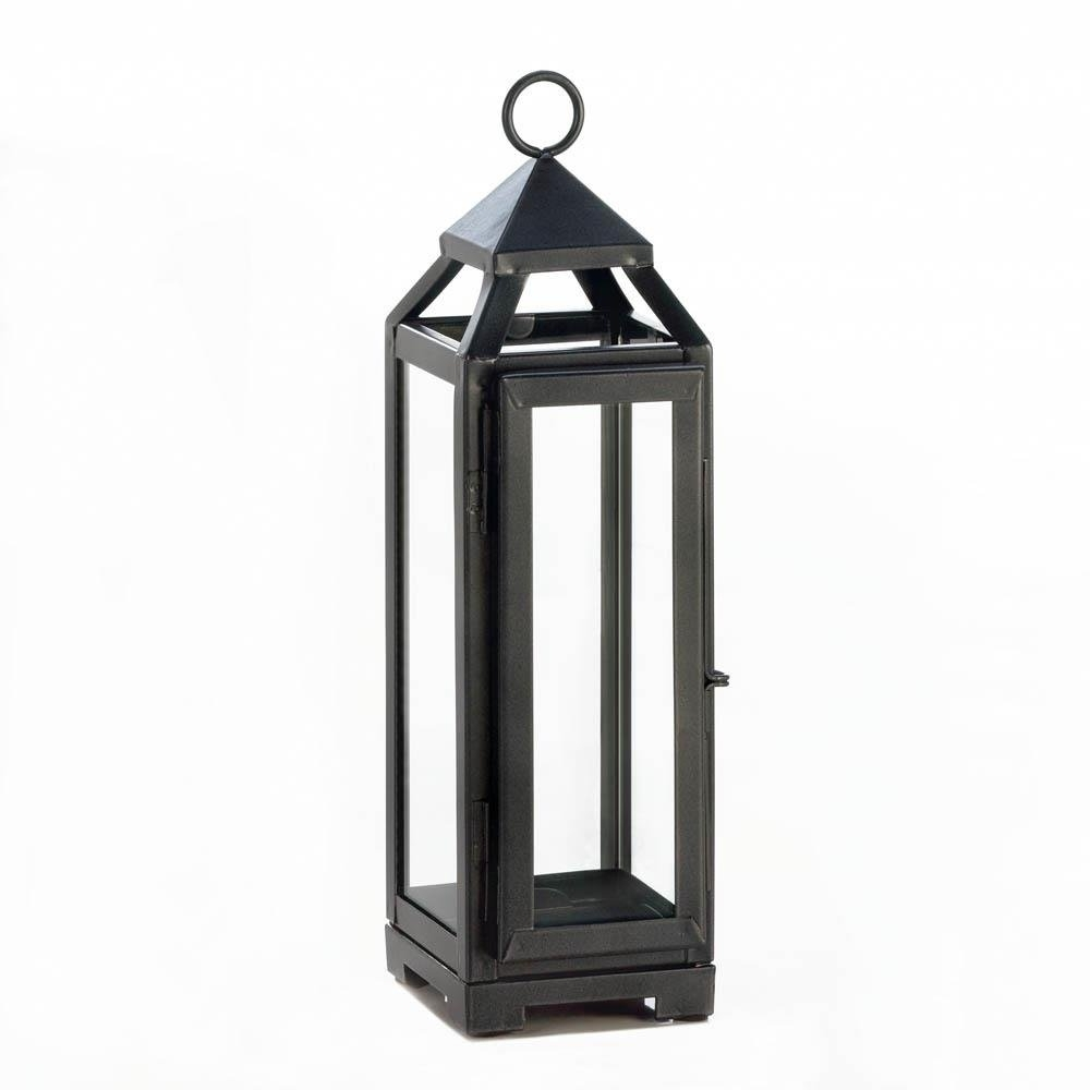 2019 Candle Lantern Decor, Outdoor Rustic Iron Tall Slate Black Metal In Metal Outdoor Lanterns (Gallery 2 of 20)