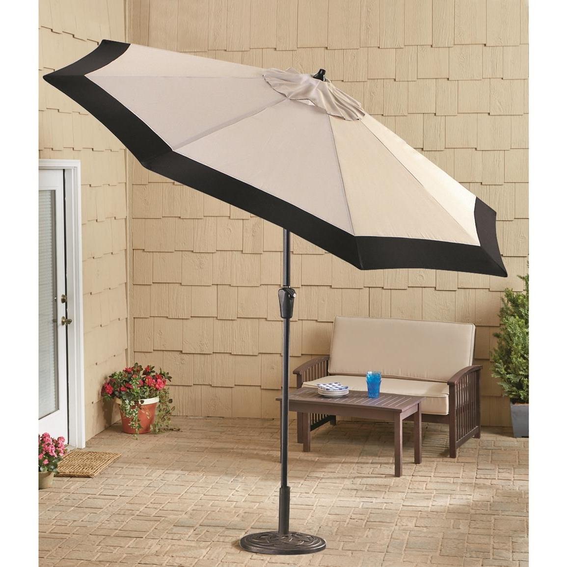2019 Deluxe Patio Umbrellas Throughout Castlecreek 9' Two Tone Deluxe Market Patio Umbrella, Khaki / Black (View 2 of 20)