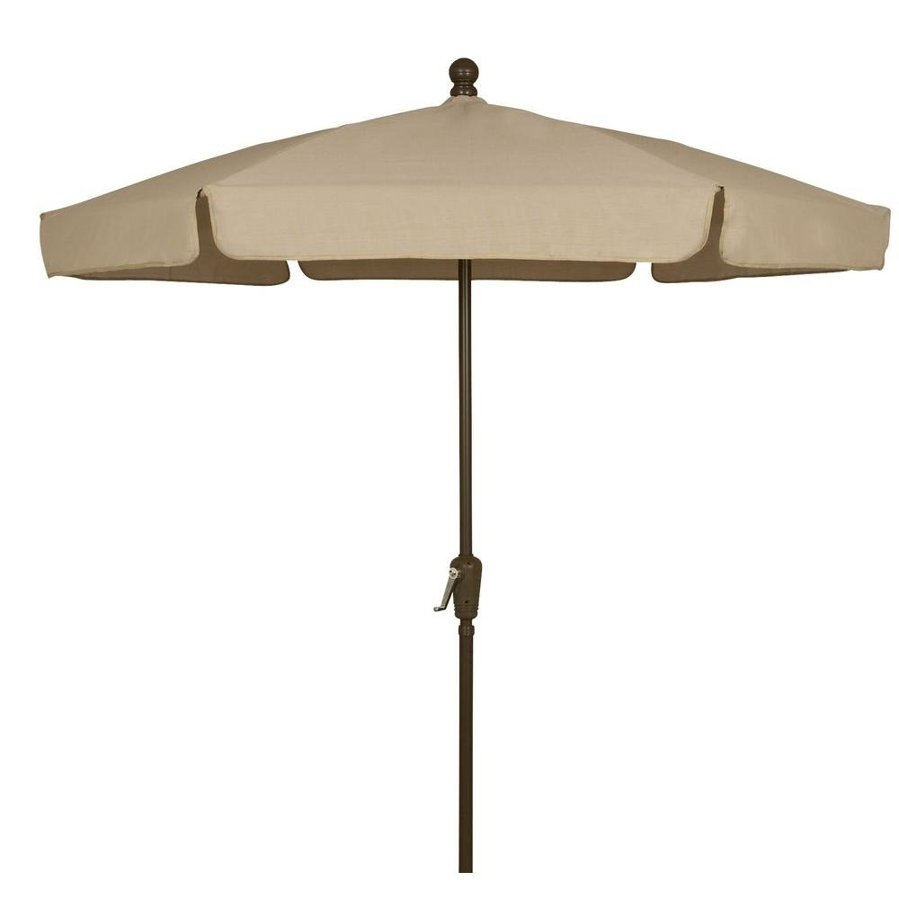 2019 Fiberbuilt Umbrellas 7.5 Ft. Patio Umbrella In Beige 7Gcrcb T Bg For Patio Umbrellas At Home Depot (Gallery 3 of 20)