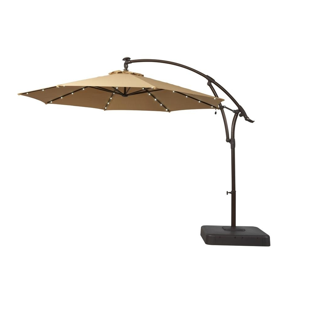 2019 Hampton Bay 11 Ft. Solar Offset Patio Umbrella In Cafe Yjaf052 Cafe Pertaining To Patio Umbrellas With Fans (Gallery 3 of 20)