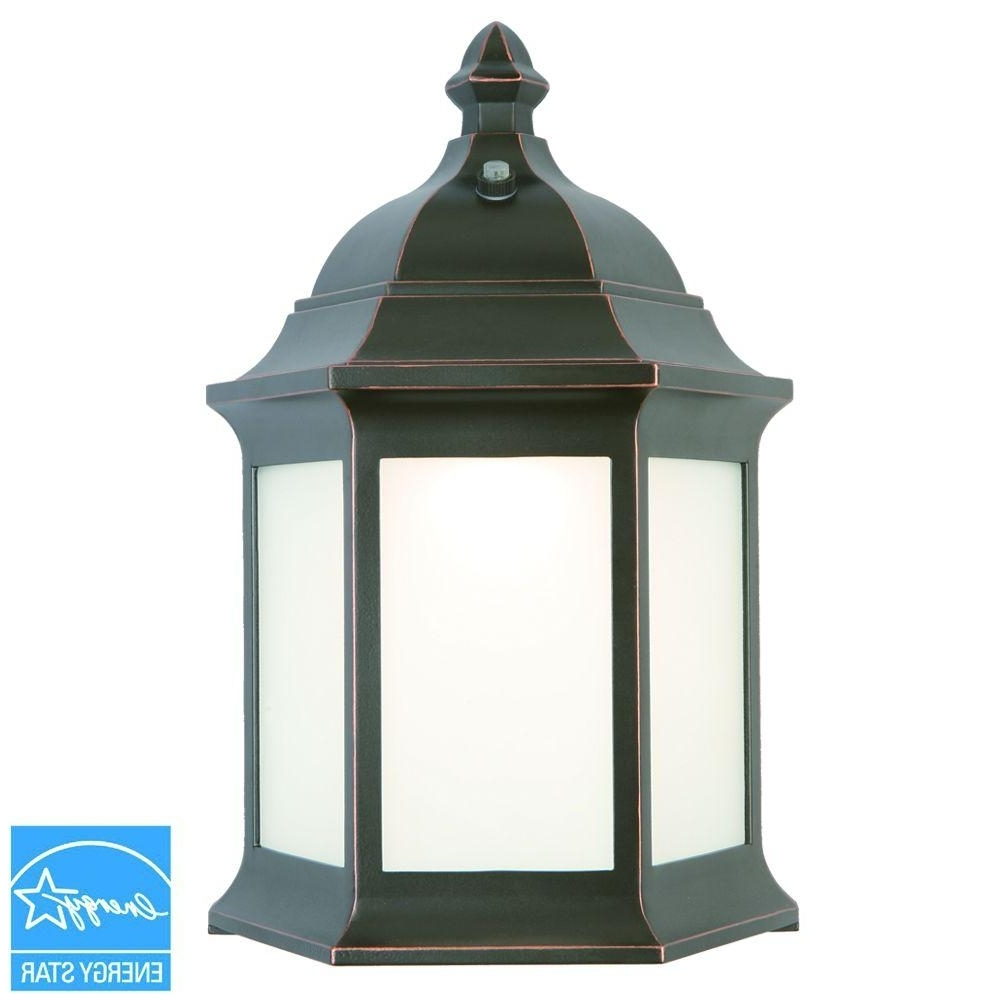 2019 Hampton Bay Outdoor Oil Rubbed Bronze Led Wall Lantern Ims1691L Inside Outdoor Oil Lanterns (View 1 of 20)