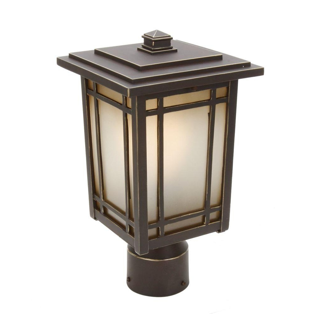 2019 Home Decorators Collection Port Oxford 1 Light Oil Rubbed Chestnut With Regard To Outdoor Post Lanterns (View 2 of 20)