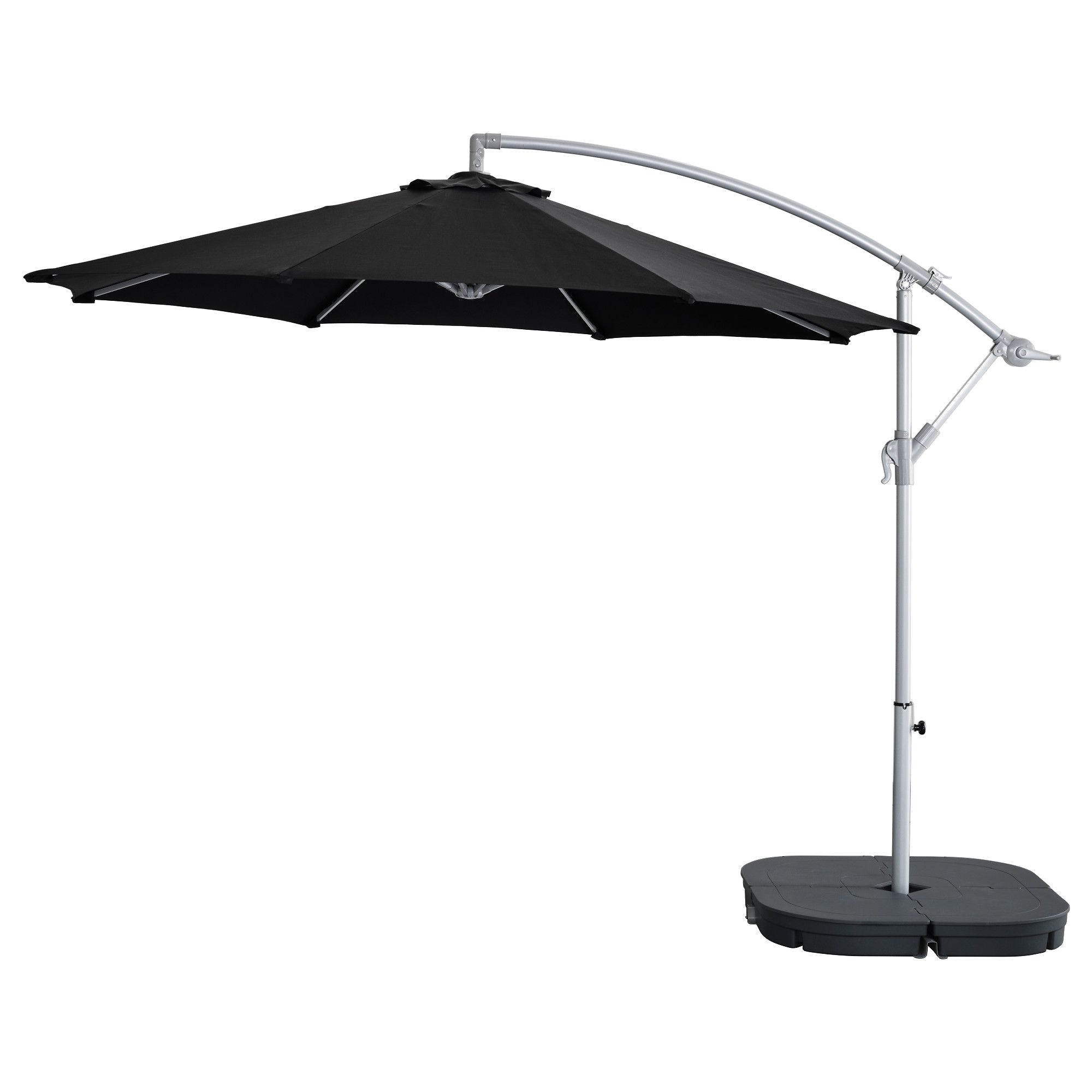 2019 Ikea Patio Umbrellas In Karlsö / Svartö Parasol, Suspendu Avec Socle – Noir/gris Foncé (View 11 of 20)