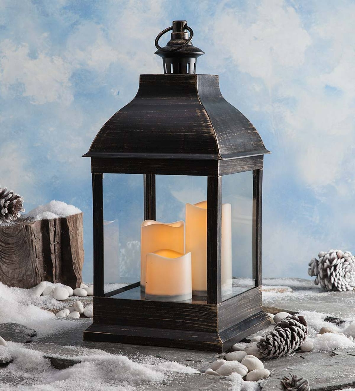 2019 Indoor/outdoor Lantern With Led Candles And Remote (View 2 of 20)
