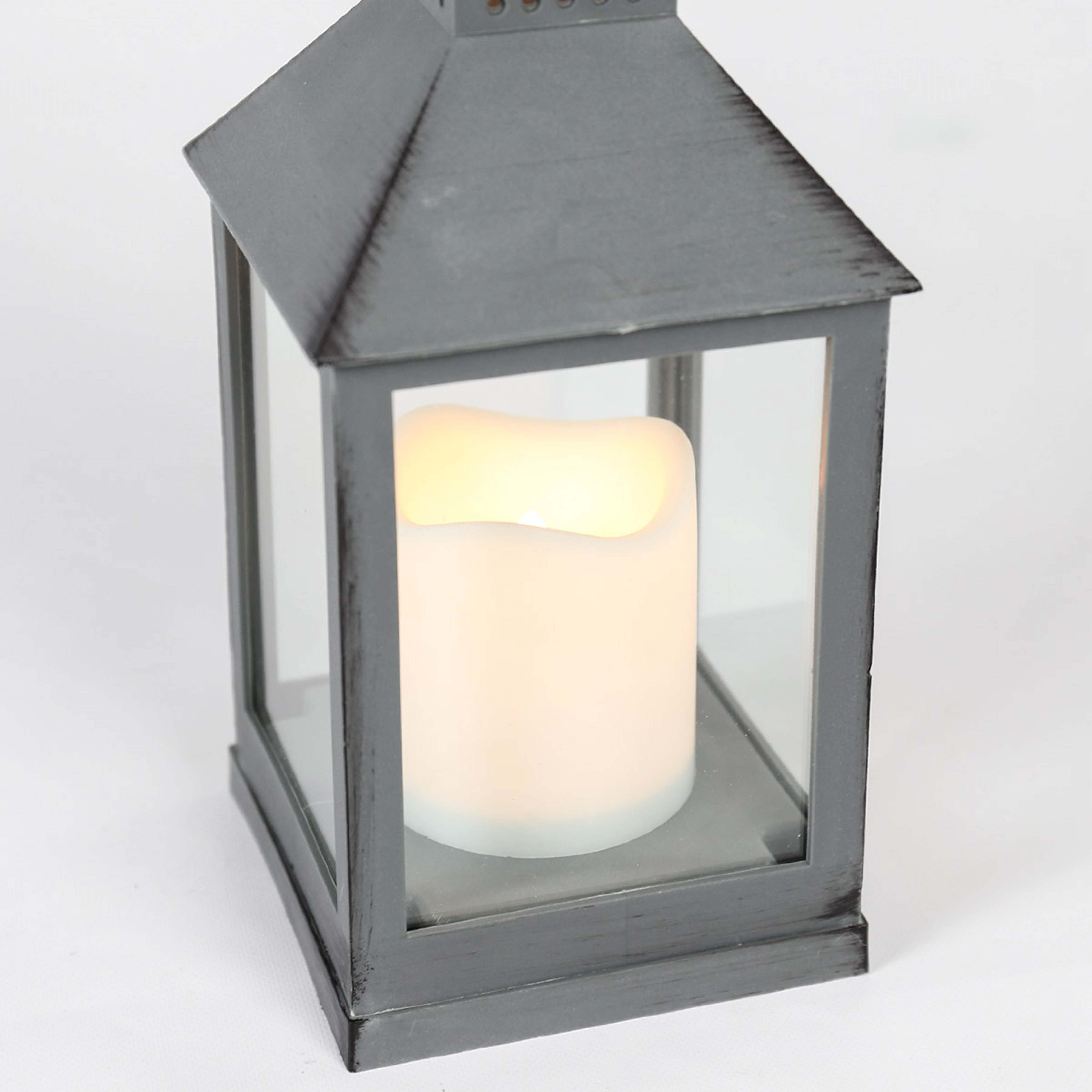 2019 Outdoor Grey Lanterns For Outdoor Battery Flickering Candle Lantern, 24Cm (Gallery 17 of 20)