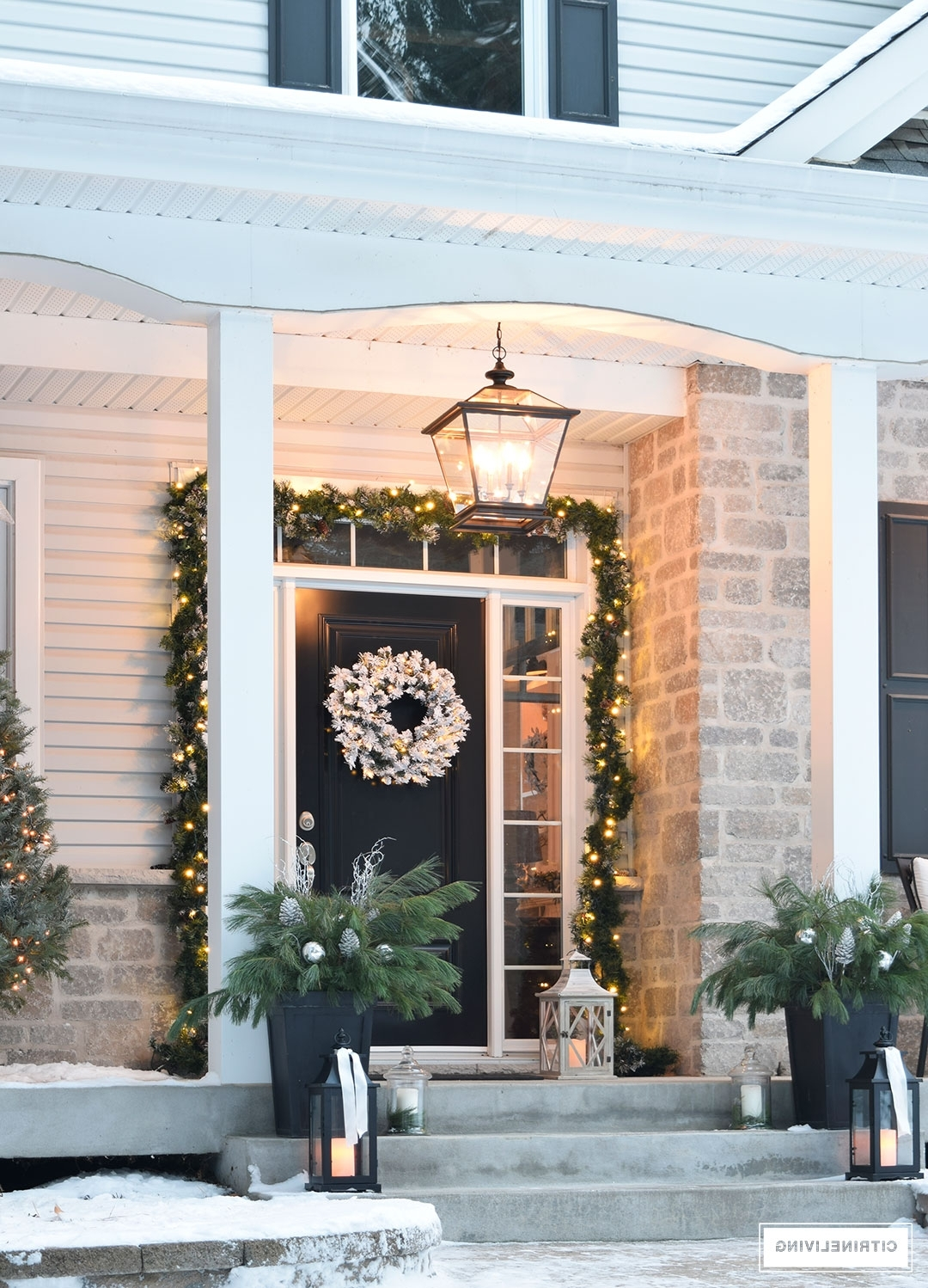 2019 Outdoor Lanterns For Front Porch Regarding Citrineliving  Outdoor Christmas Decor And New Lighting (Gallery 7 of 20)