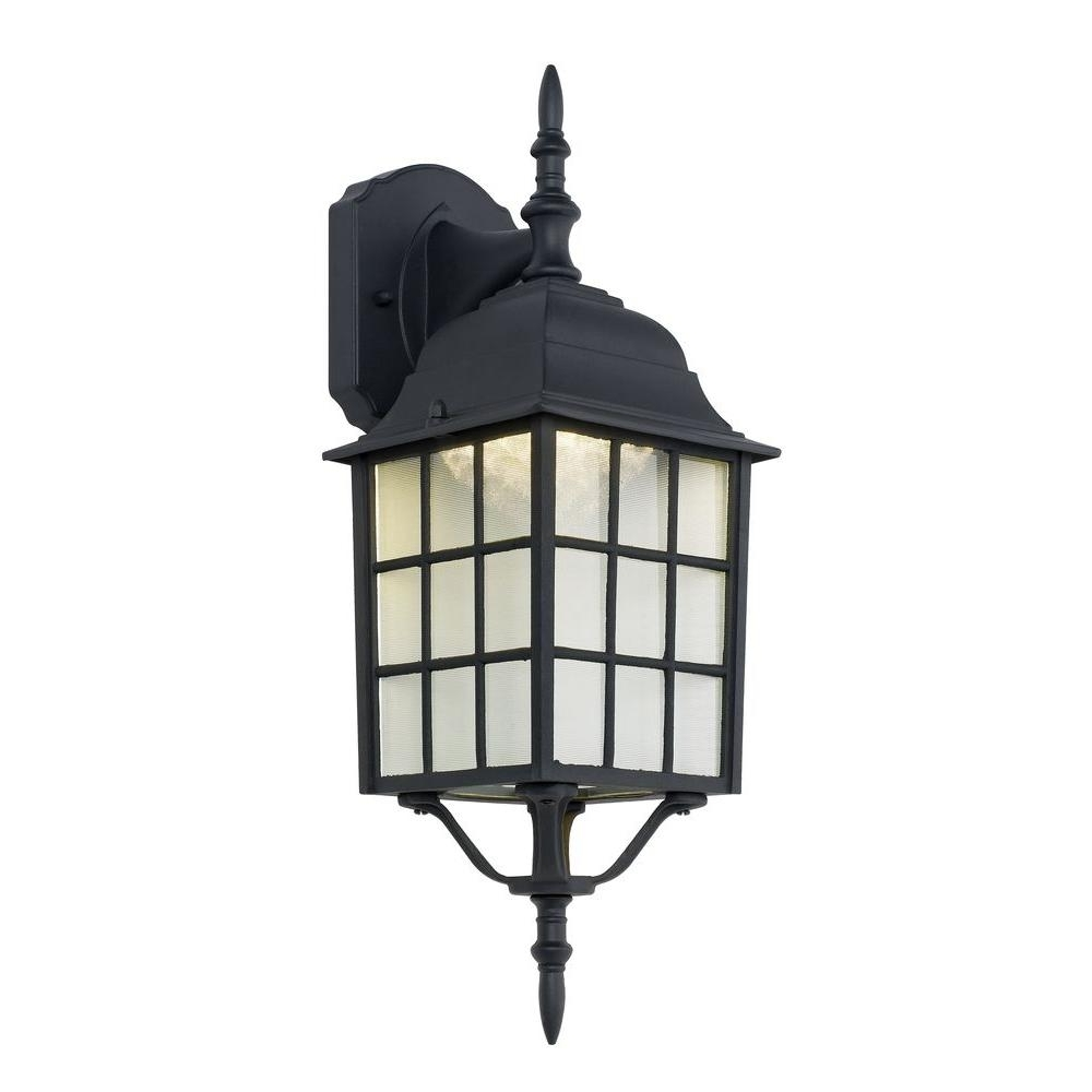 2019 Outdoor Lanterns With Led Lights Intended For Hampton Bay Black Outdoor Led Wall Lantern 4420 1Bk Led – The Home Depot (View 1 of 20)