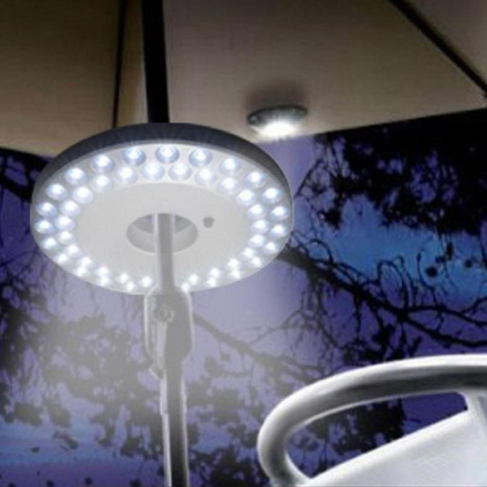 2019 Outdoor Umbrella Lanterns Within 48 Led Outdoor Umbrella Night White Lamp Pole Light Yard Garden Lawn (View 17 of 20)