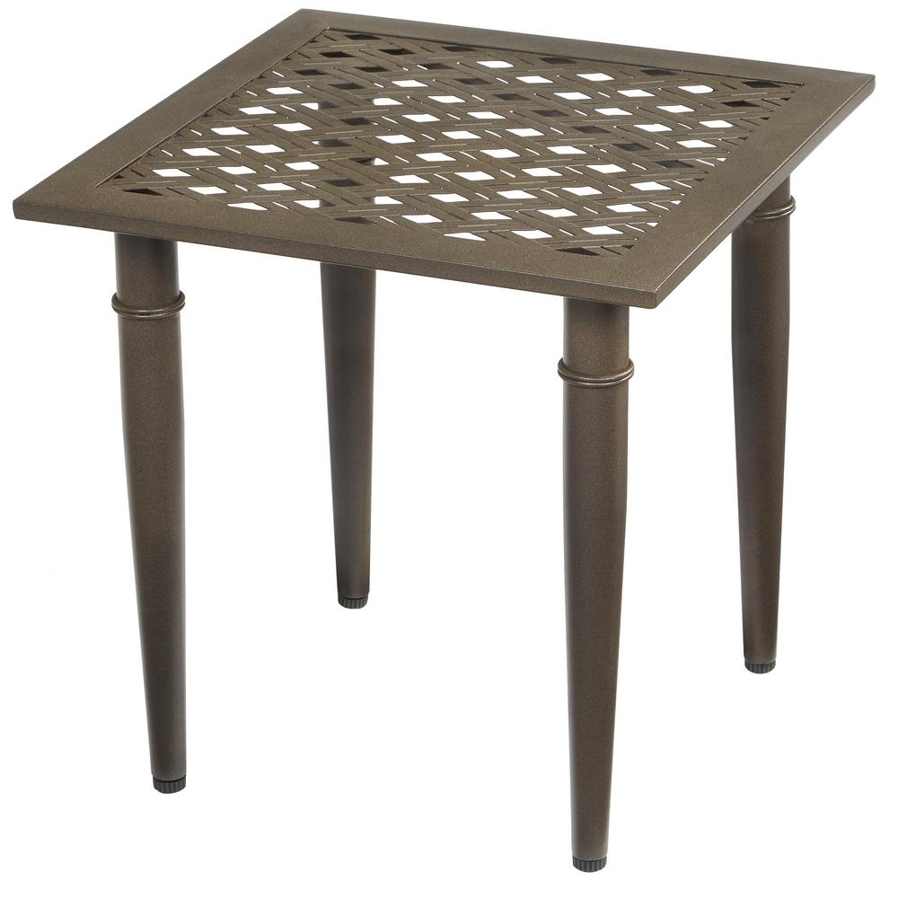 2019 Patio Umbrellas With Accent Table Throughout Hampton Bay Oak Cliff Metal Outdoor Side Table 176 411 20Et – The (Gallery 5 of 20)