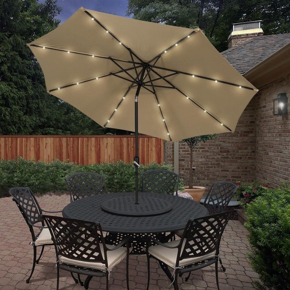 2019 Solar Powered Patio Umbrella » Gadget Flow Pertaining To Solar Powered Patio Umbrellas (Gallery 2 of 20)