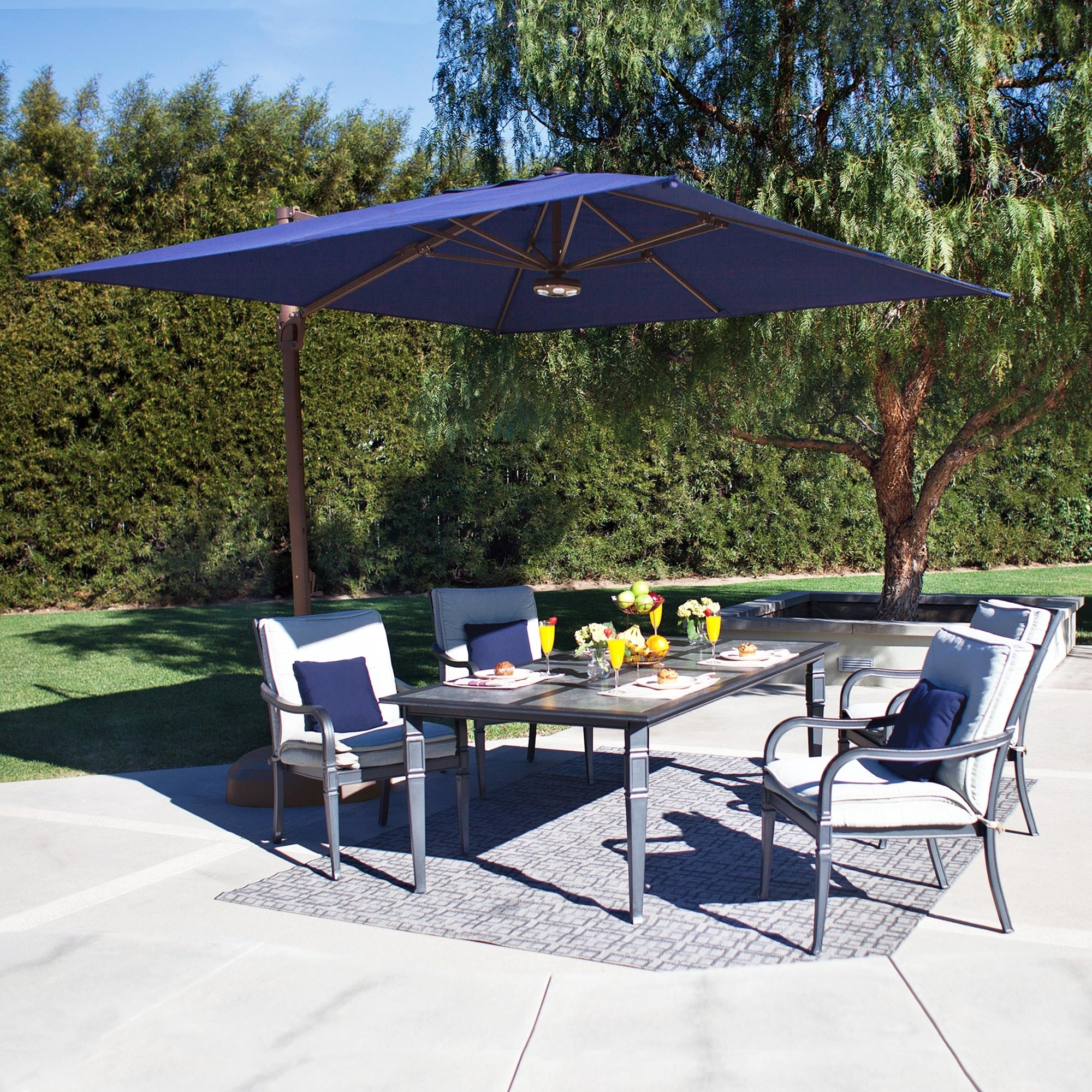 2019 Square Sunbrella Patio Umbrellas Regarding Bali 10 Ft. Square Sunbrella Cantilever Umbrella With Cross Base (Gallery 17 of 20)
