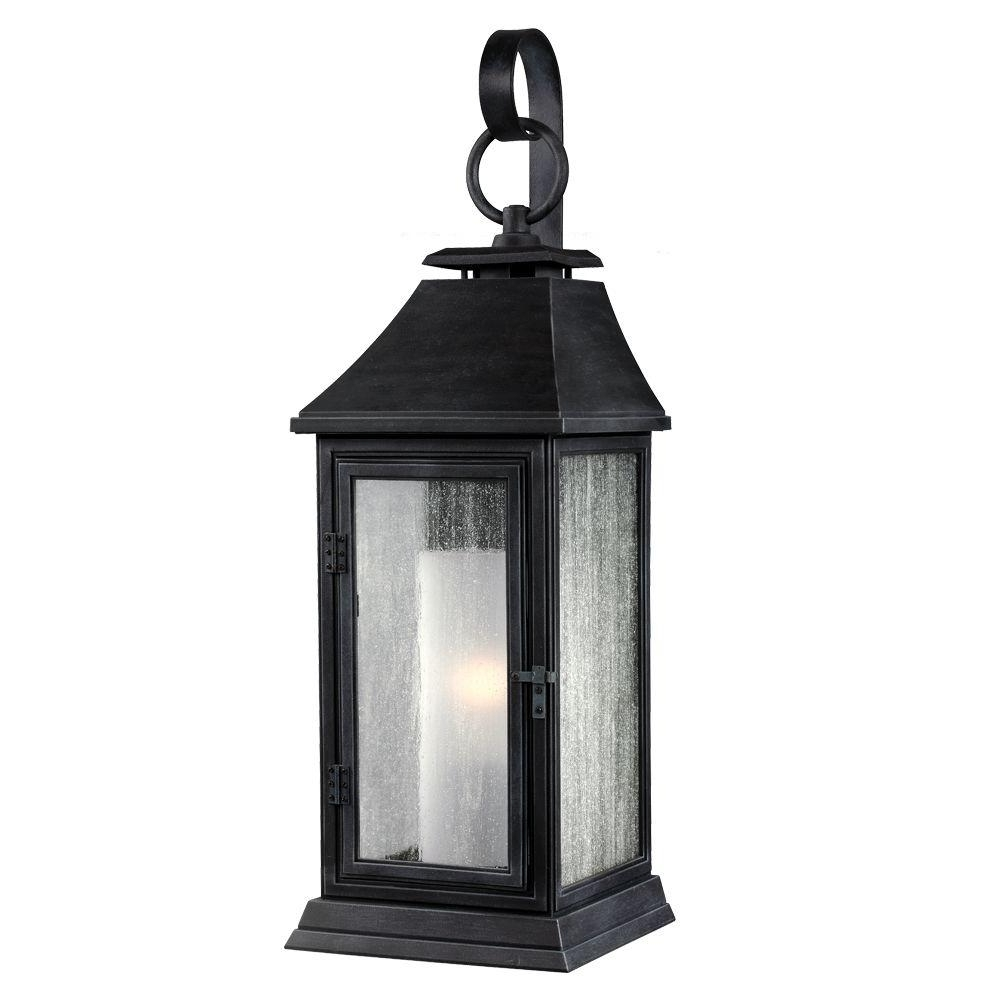 2019 Zinc Outdoor Lanterns With Feiss Shepherd 1 Light Dark Weathered Zinc Outdoor Wall Fixture (View 4 of 20)