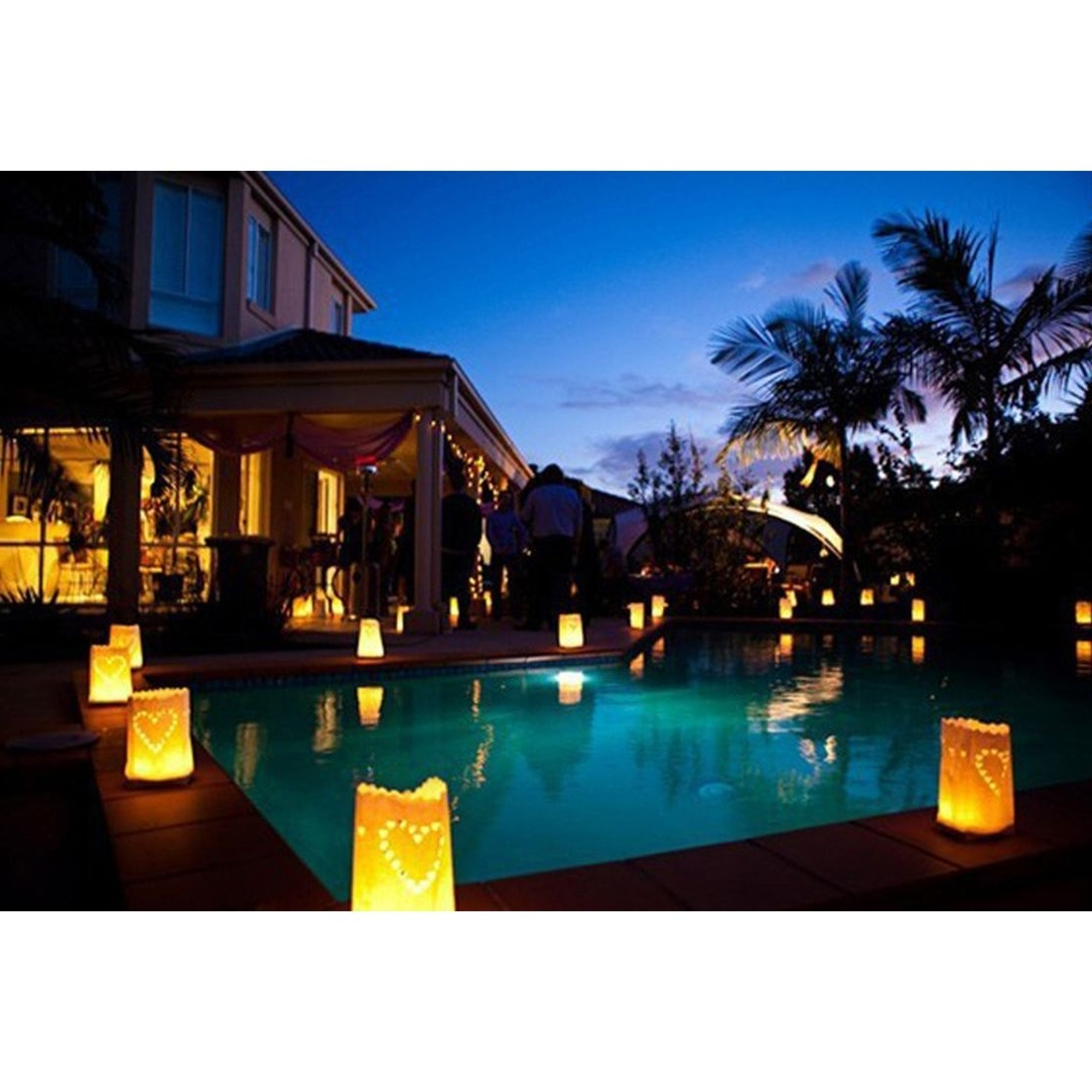 30 Pcs Tea Light Holder Luminous Paper Lantern Candle Bag For Party Intended For Most Recently Released Outdoor Pool Lanterns (Gallery 7 of 20)