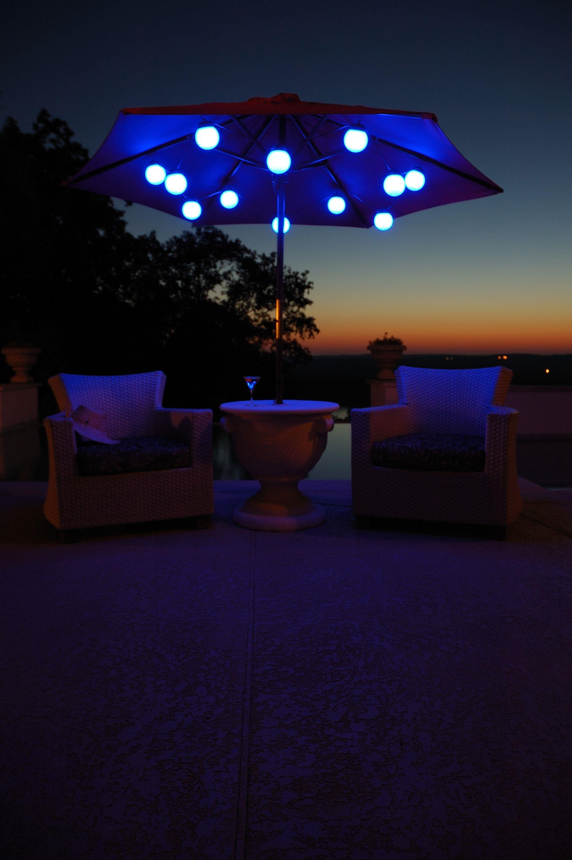 44 Patio Umbrella Light, 27 Ideas For Decorating Patio With Lighting Regarding Widely Used Patio Umbrellas With Solar Led Lights (Gallery 16 of 20)