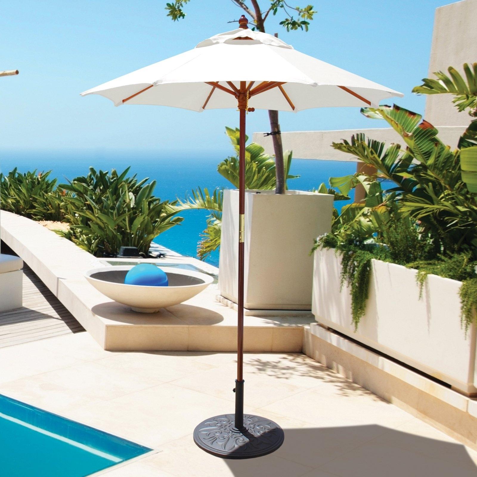 6 Ft Patio Umbrellas For Popular Galtech 6 Ft. Wood Cafe Sunbrella Market Umbrella (Gallery 5 of 20)