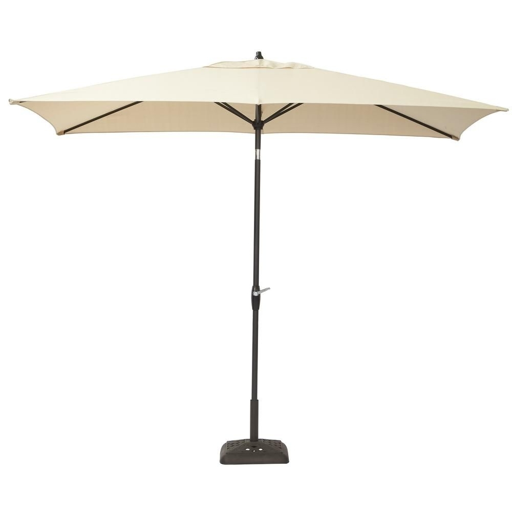 6 Ft Patio Umbrellas Regarding Favorite Hampton Bay 10 Ft. X 6 Ft. Aluminum Patio Umbrella In Oatmeal With (Gallery 6 of 20)