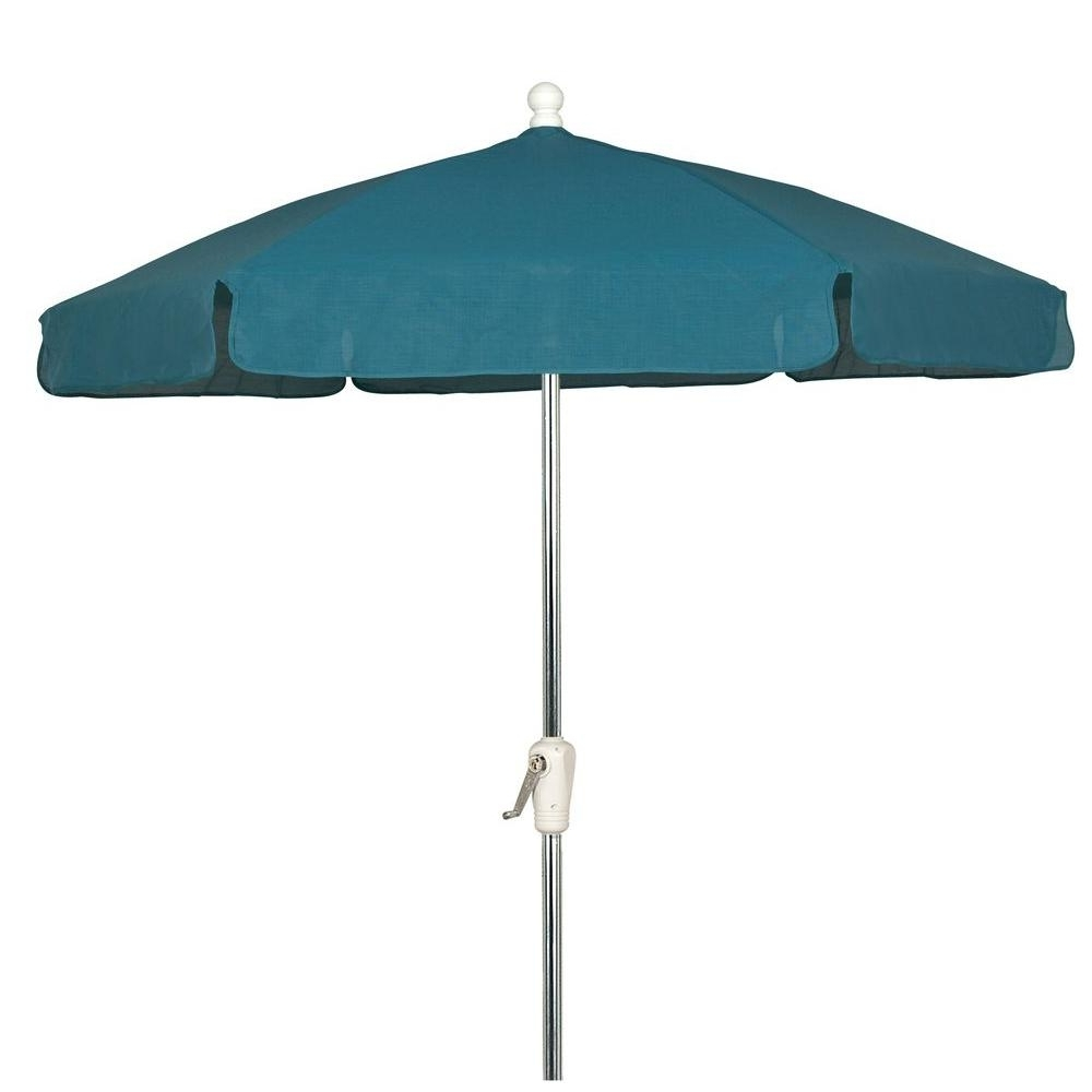 7.5 Ft. Bright Aluminum Garden Patio Umbrella In Teal Vinyl Coated Regarding Well Liked Vinyl Patio Umbrellas (Gallery 6 of 20)
