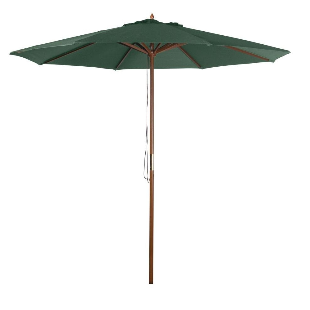9 Ft. Market Patio Umbrella In Green Y99153 – The Home Depot Inside Current Heavy Duty Patio Umbrellas (Gallery 18 of 20)