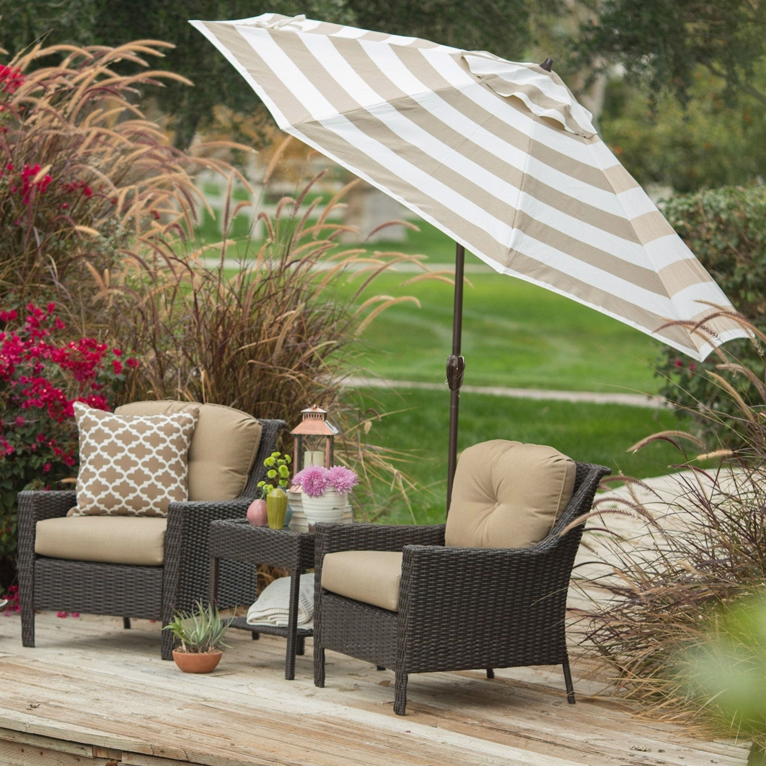 9 Ft Market Umbrella With Tilt And Crank With Beige And White Stripe Throughout Widely Used 9 Ft Patio Umbrellas (View 7 of 20)