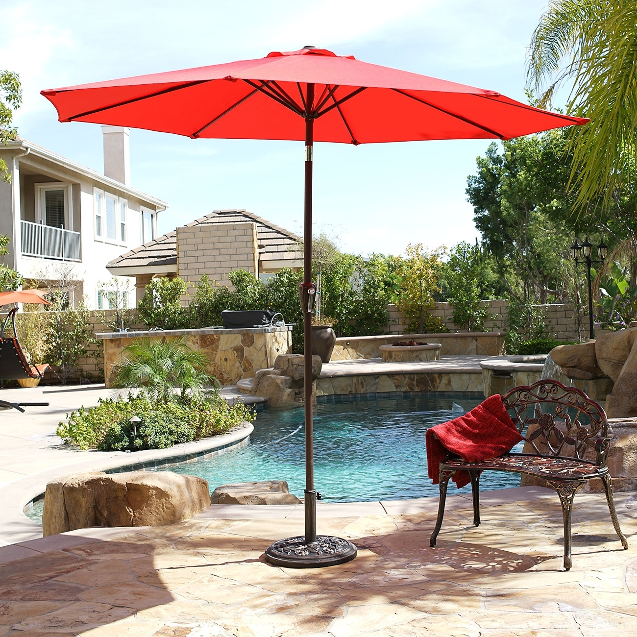 9 Ft Patio Umbrellas In Fashionable 9' Ft Steel Outdoor Patio Umbrella Market Yard Beach W/ Crank Tilt  (View 3 of 20)