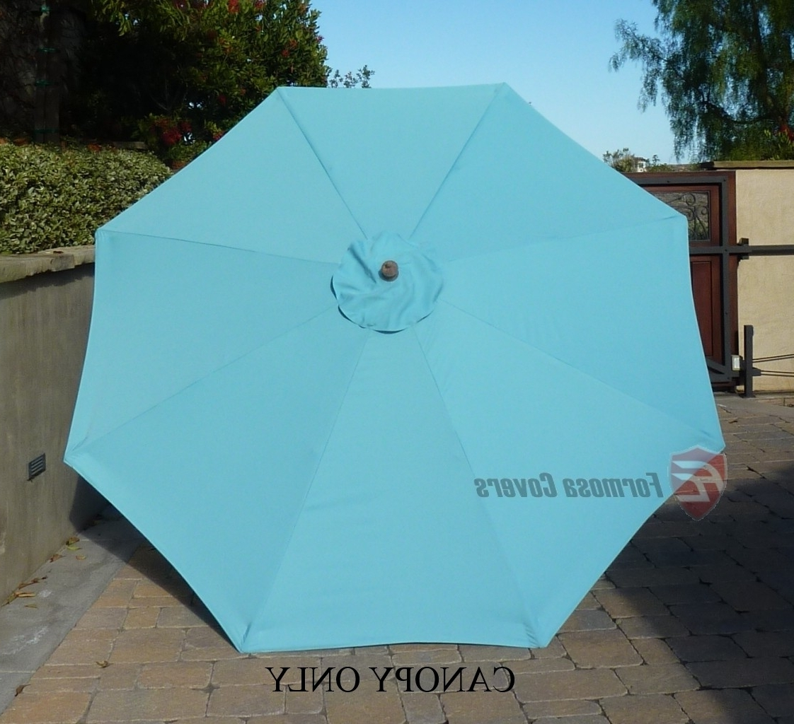 9Ft Market Patio Umbrella Replacement Cover Canopy.8 Ribs. Light Blue In Latest Blue Patio Umbrellas (Gallery 16 of 20)