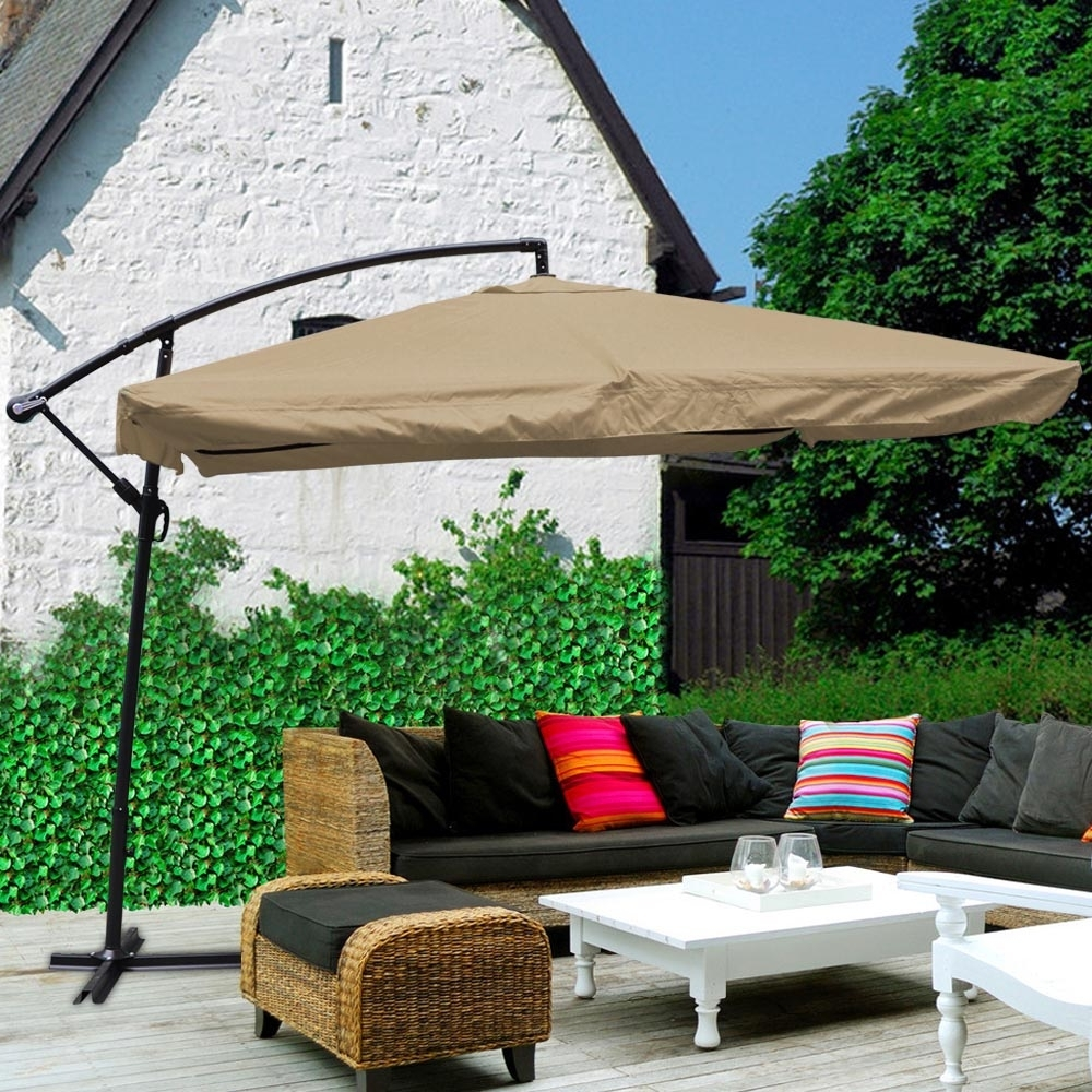 9X9' Deluxe Square Patio Offset Hanging Umbrella Gazebo Outdoor With Regard To Most Up To Date Square Patio Umbrellas (View 1 of 20)