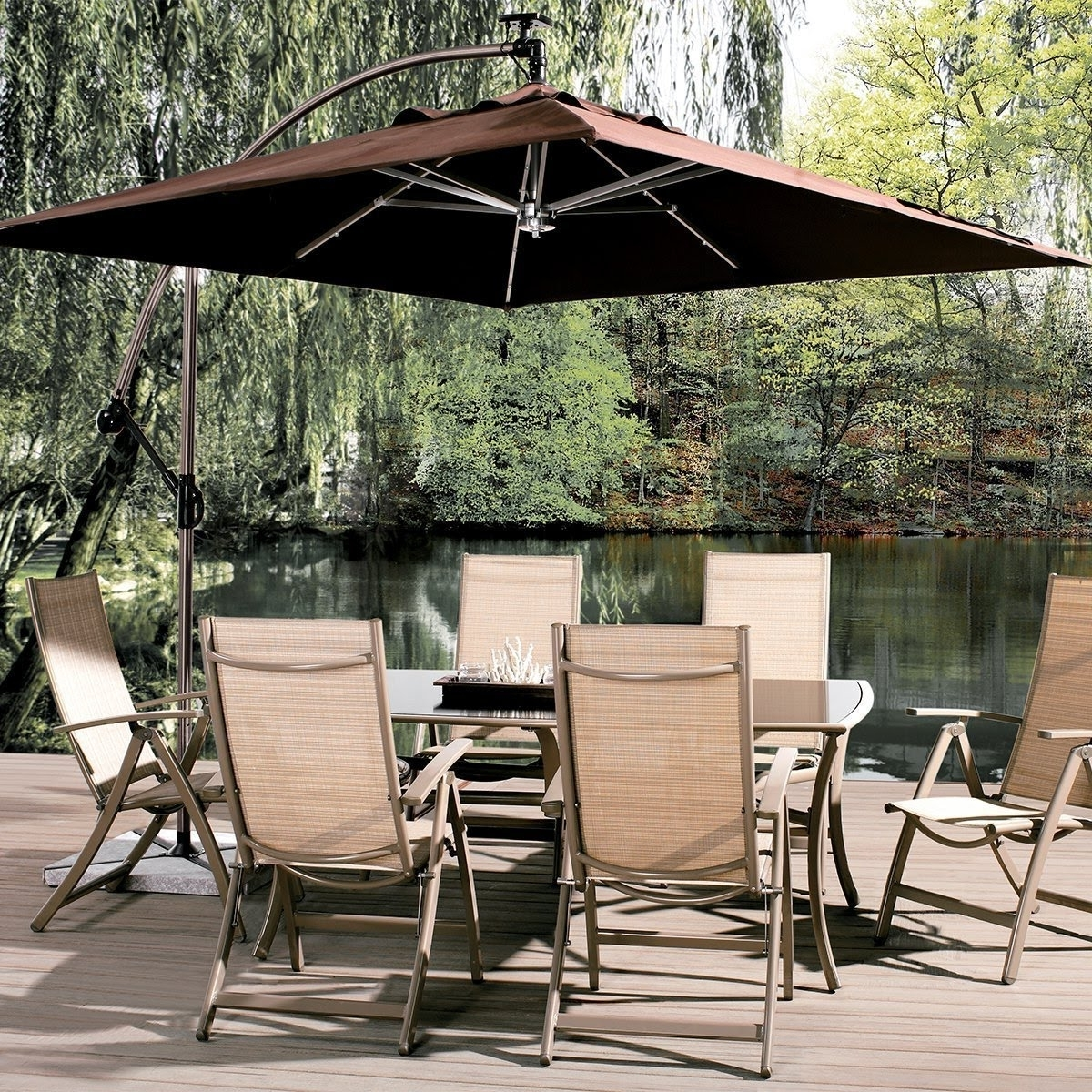 Abba Patio 8 Ft Square Outdoor Solar Powered 32 Led Cantilever Crank Within Well Known Solar Powered Patio Umbrellas (View 2 of 20)