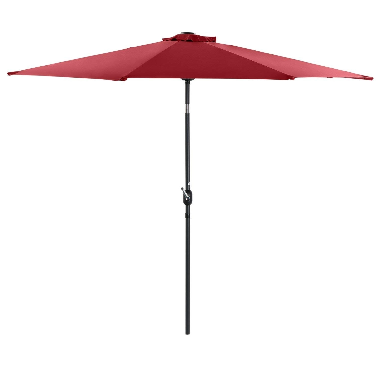 Amazon Patio Umbrellas With Regard To Popular Crank Tilt Patio Umbrella New Amazon Phi Villa 10 Ft Solar Powered (View 2 of 20)
