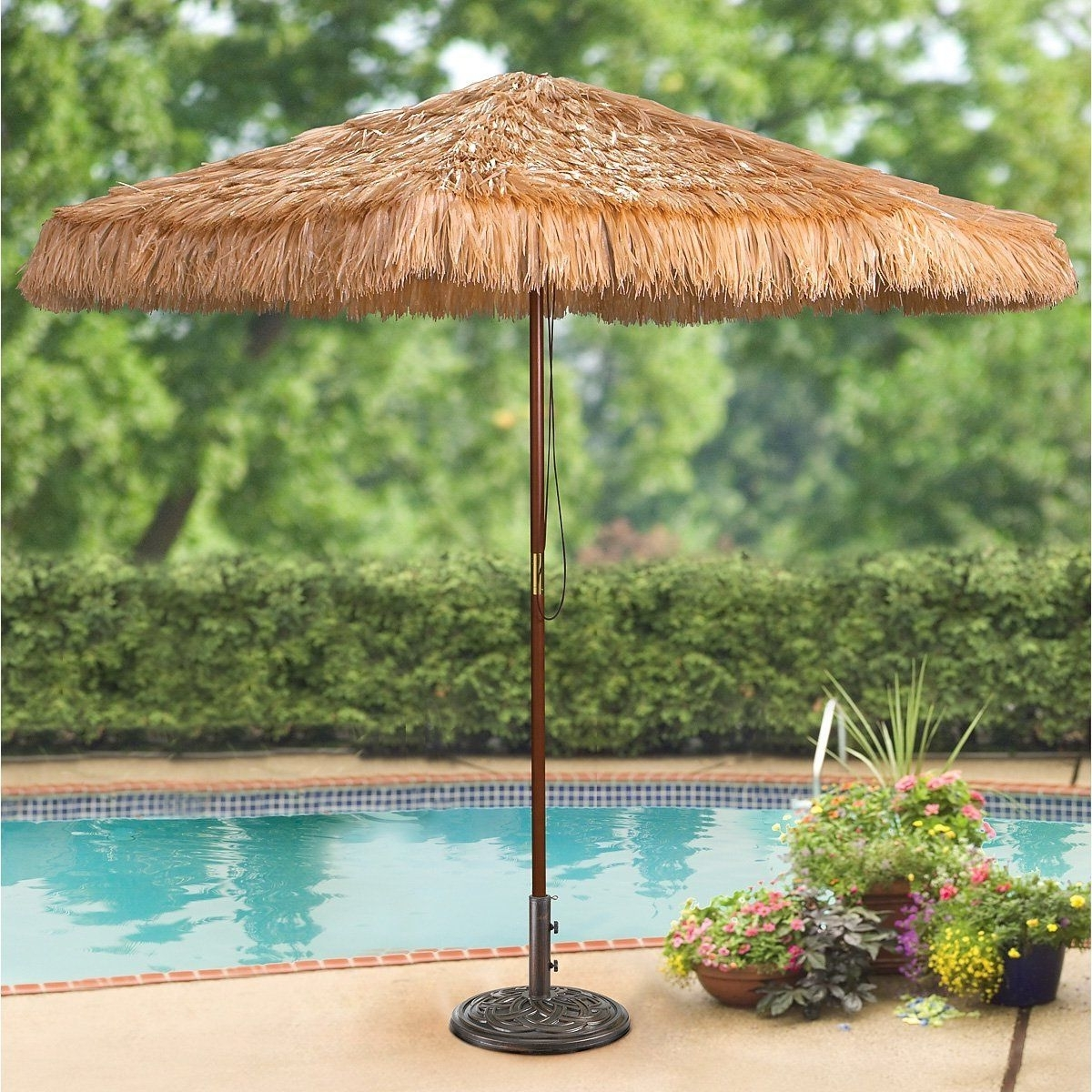 Amazon Patio Umbrellas Within Well Known Amazon : Castlecreek 9 Foot Thatched Tiki Umbrella : Patio (View 7 of 20)