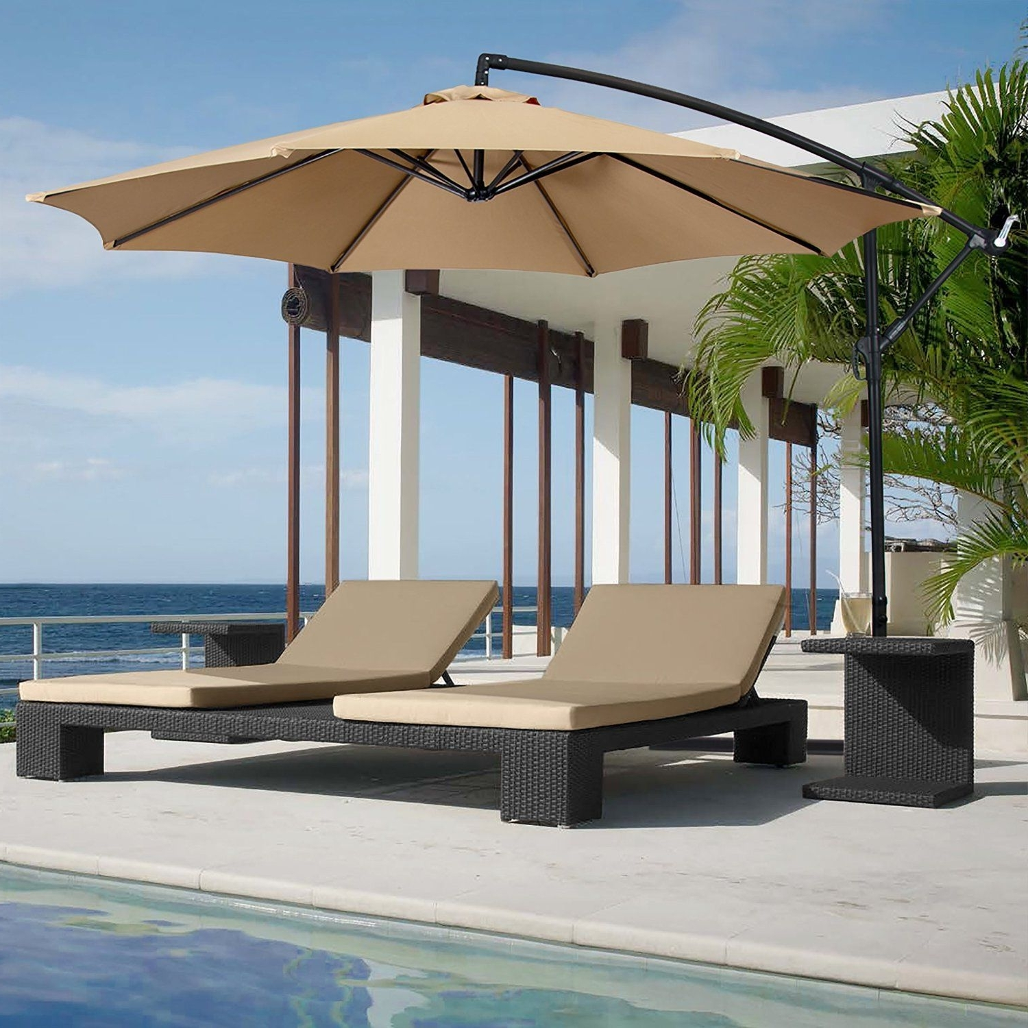 Amazon Patio Umbrellas Within Widely Used Amazon : Best Choice Products® Patio Umbrella Offset 10' Hanging (View 8 of 20)