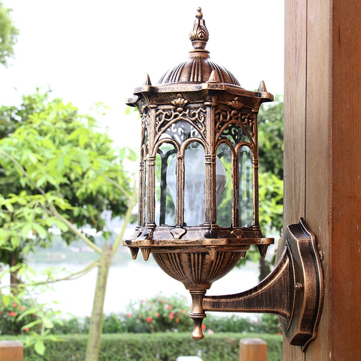 Antique Outdoor Lanterns Inside Widely Used Antique Exterior Wall Light Fixture Aluminum Glass Lantern Outdoor (Gallery 11 of 20)