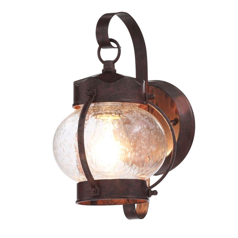 Antique Outdoor Lanterns Pertaining To Trendy Glomar 1 Light Old Bronze Outdoor Onion Wall Mount Lantern With (View 4 of 20)