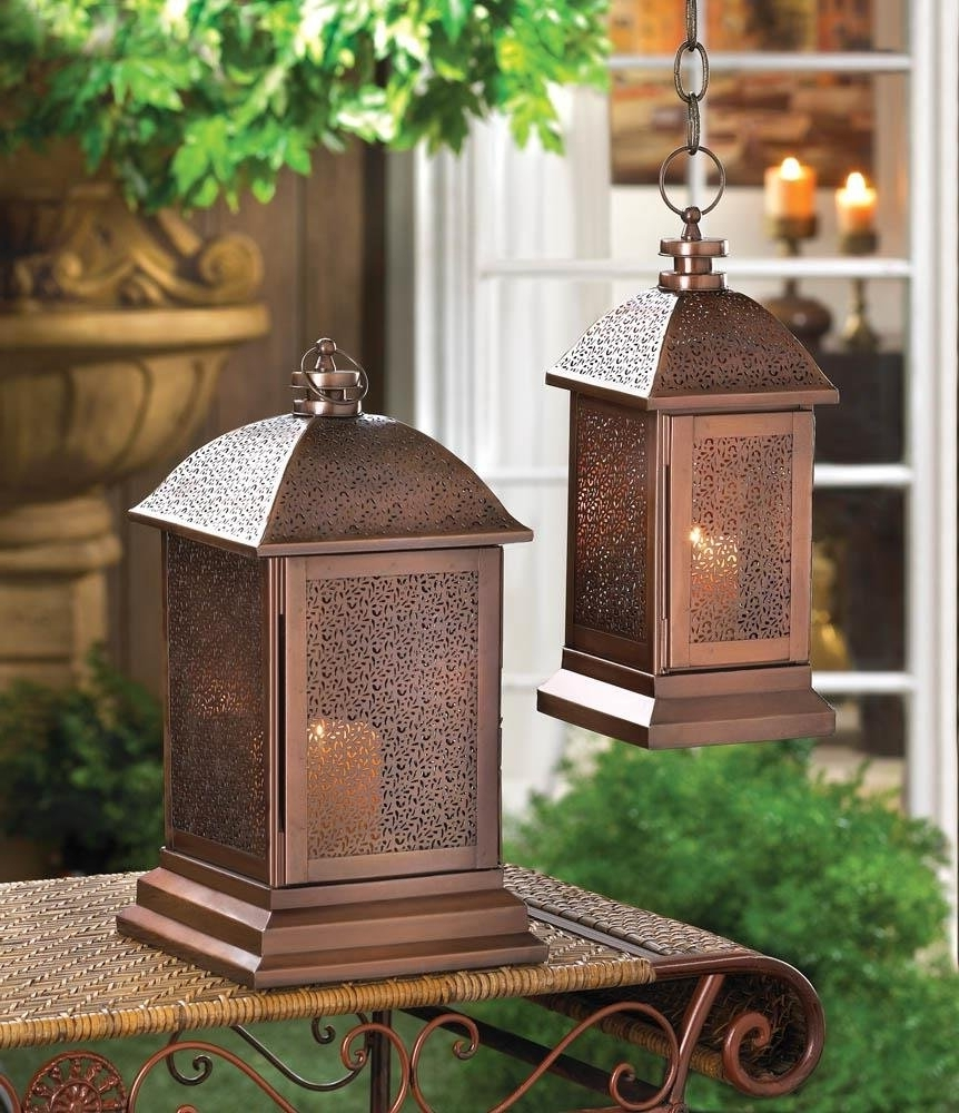 Antique Outdoor Lanterns With Newest Outdoor Lantern Decor, Peregrine Large Metal Decorative Floor (Gallery 5 of 20)