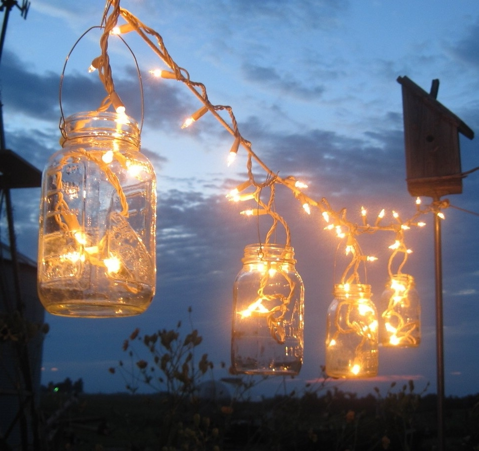 Backyard Outdoor Lighting Ideas With Diy Mason Jar Candle Holder Throughout Most Up To Date Outdoor Rope Lanterns (Gallery 17 of 20)