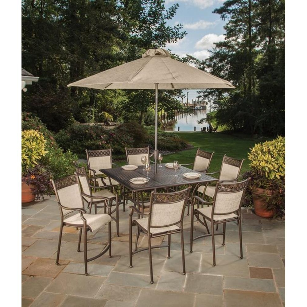 Bar Height Patio Table 3 Piece Furniture Set 5 And 4 Chairs Outdoor With Regard To Trendy Patio Furniture Sets With Umbrellas (Gallery 14 of 20)