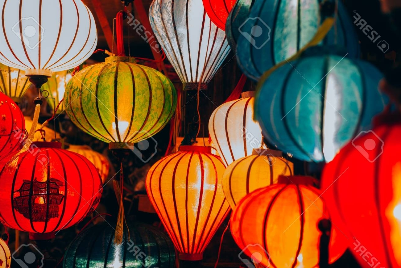 Beautiful Vietnamese Lanterns At The Night Market In Hoi An,.. Stock Inside Well Liked Outdoor Vietnamese Lanterns (Gallery 19 of 20)