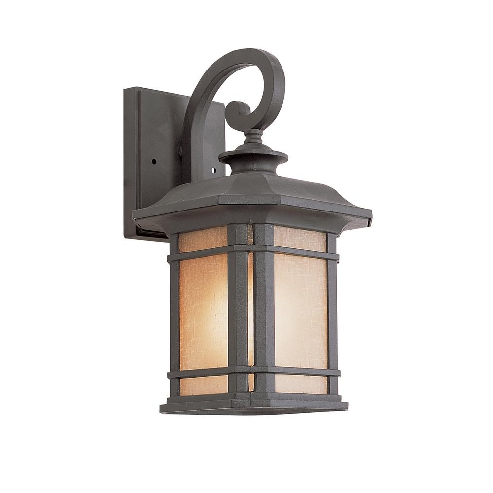 Bel Air Lighting 1 Light Black Outdoor Wall Lantern With Tea Stained With Regard To Well Known Outdoor Glass Lanterns (View 1 of 20)