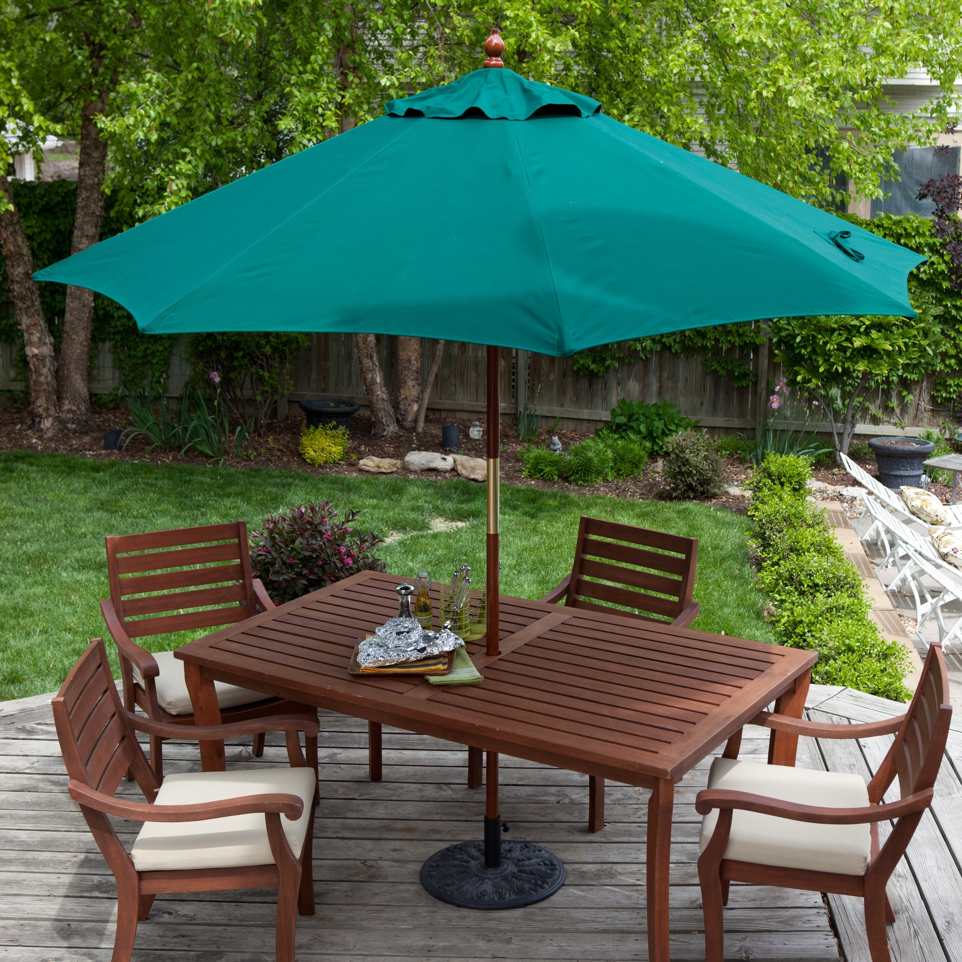 Belham Living 9 Ft. Wood Commercial Grade Sunbrella Market Umbrella Pertaining To Most Up To Date Patio Umbrellas For Tables (Gallery 8 of 20)