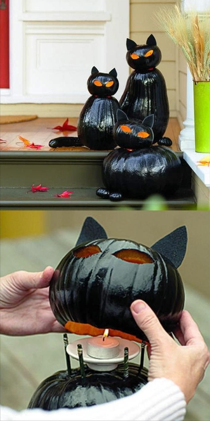 Best And Newest 22 Amazing Diys For Outside Halloween Decorations: 1. Pumpkin Cat Within Outdoor Pumpkin Lanterns (Gallery 20 of 20)