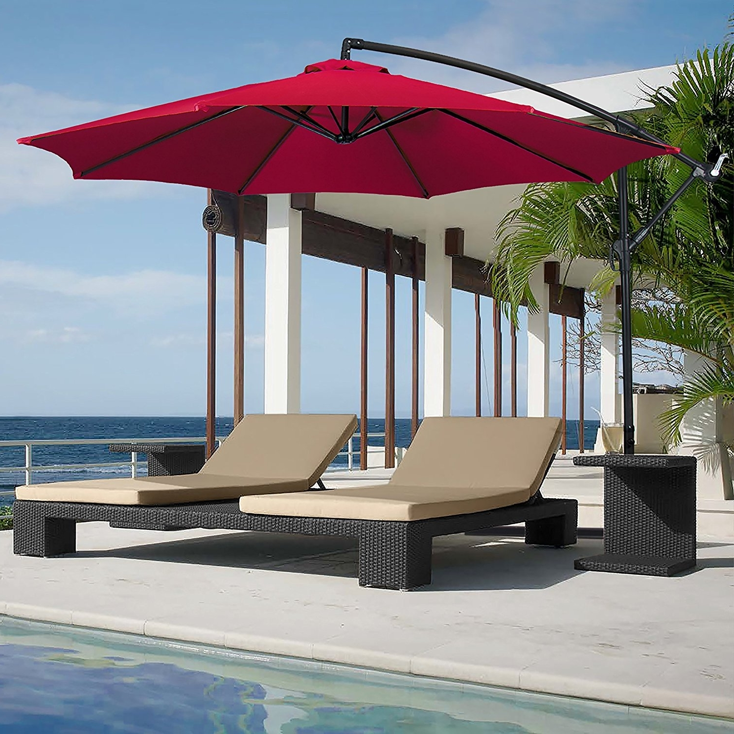 Best And Newest Free Standing Patio Umbrellas Within Appliances: Furniture Free Standing Umbrellas For Patio (Gallery 13 of 20)