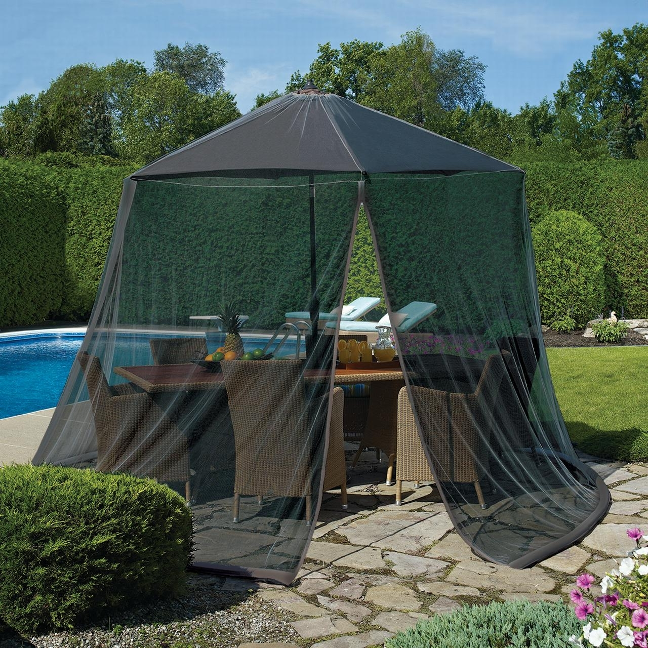 Best And Newest Mosquito Net Tent With Repellent, Screen Patio Umbrella Table Net With Patio Umbrellas With Netting (Gallery 14 of 20)