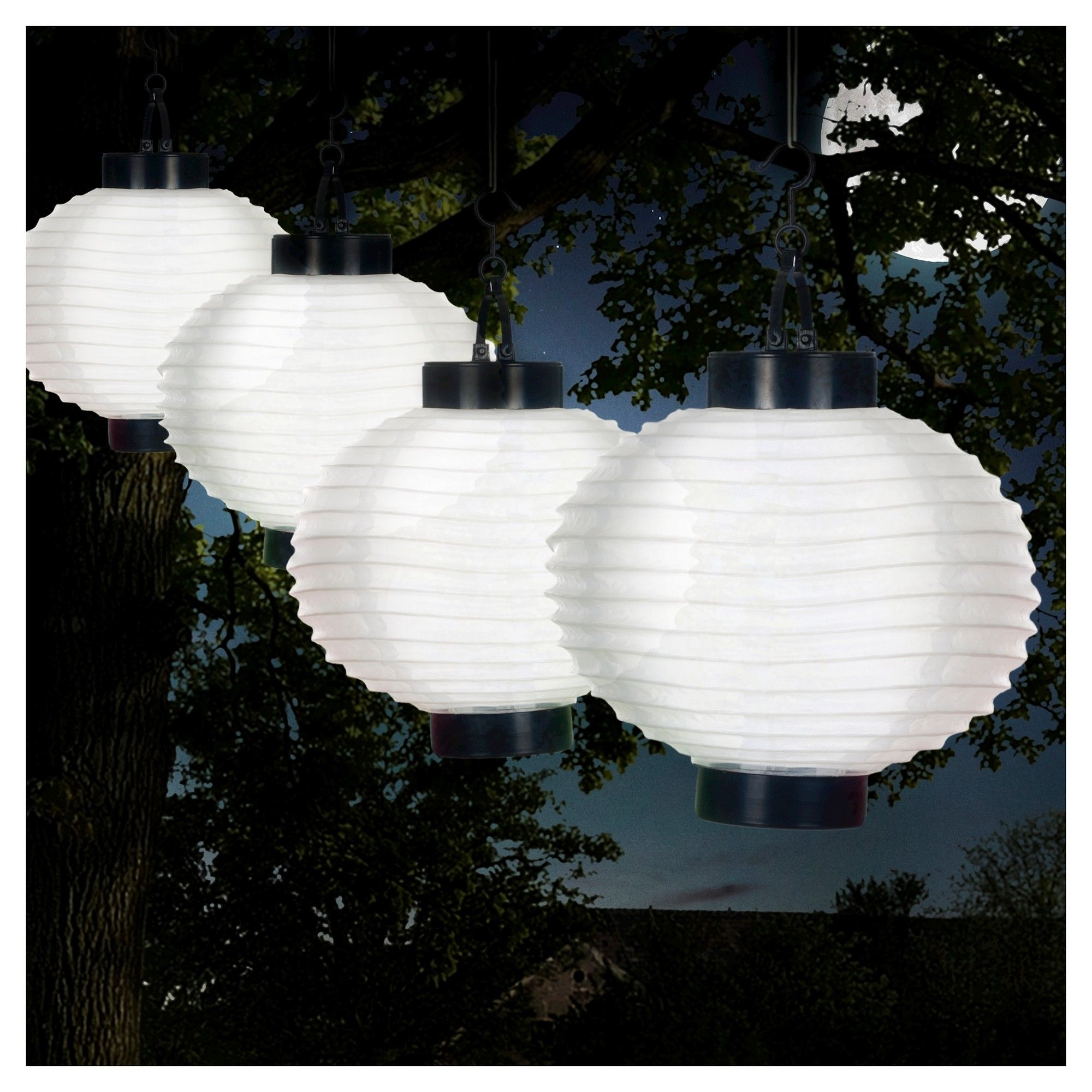 Best And Newest Outdoor Chinese Lanterns For Patio Inside Pure Garden Outdoor Solar Chinese Lanterns Set Of 4 – White (View 3 of 20)