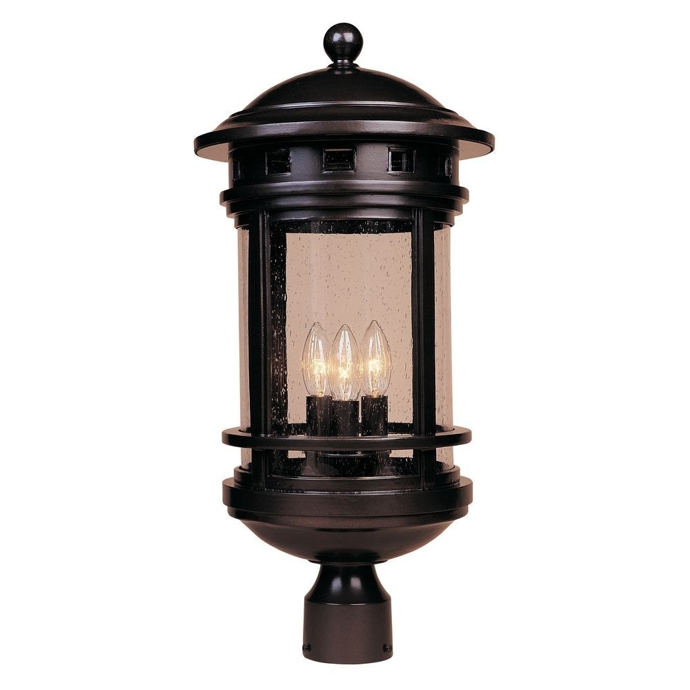 Best And Newest Outdoor Lanterns On Post With Regard To Seeded Glass Post Light Oil Rubbed Bronze Designers Fountain (View 1 of 20)