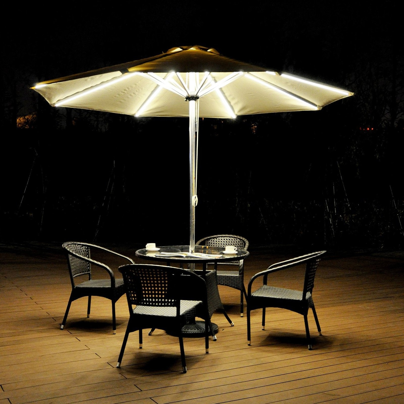 Best And Newest Sunbrella Patio Umbrella With Lights Intended For Galtech Sunbrella 11 Ft Auto Tilt Patio Umbrella With Led (View 3 of 20)