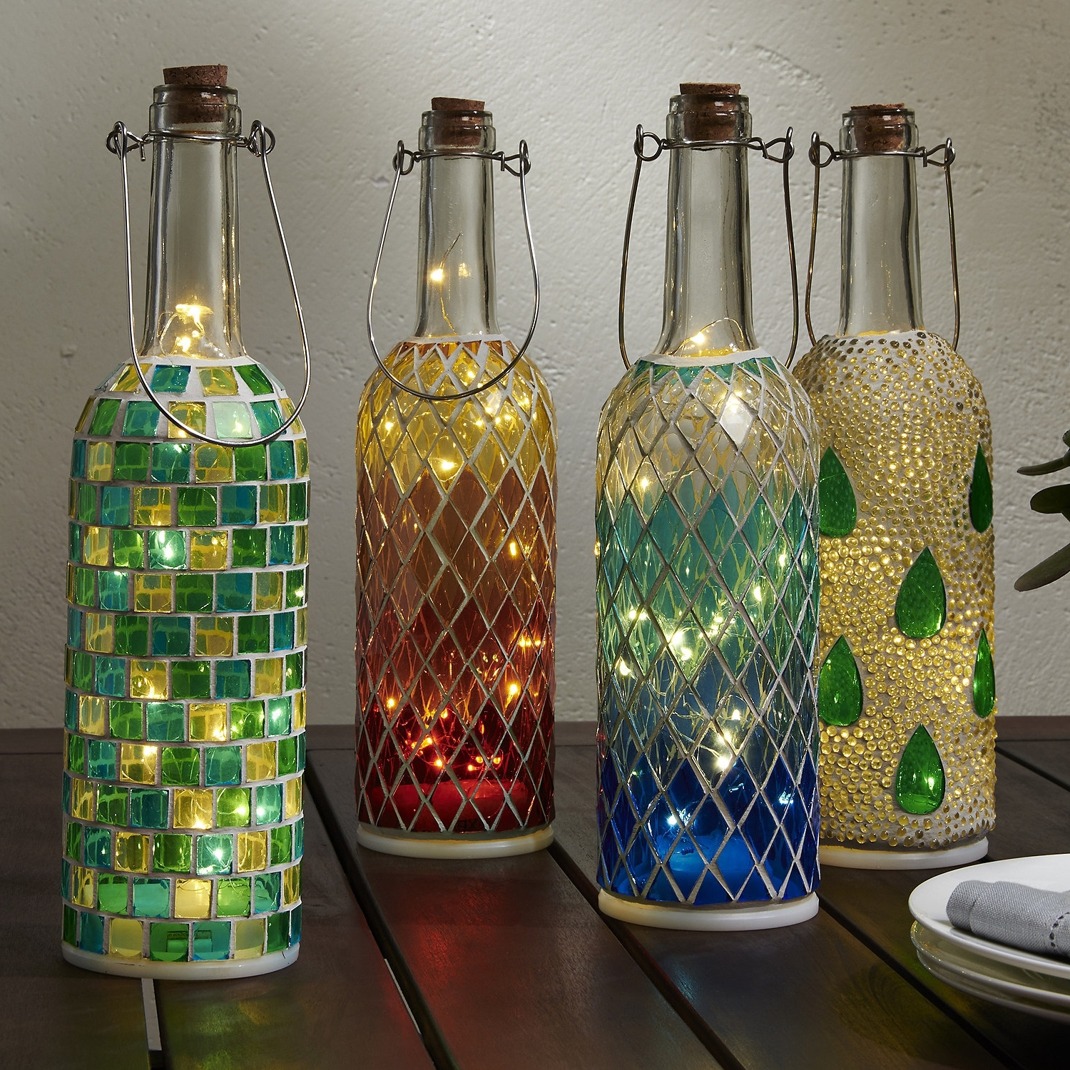 Best And Newest Wine Bottle Mosaic Lanterns (Set Of 4) – Wine Enthusiast Inside Outdoor Mosaic Lanterns (View 17 of 20)