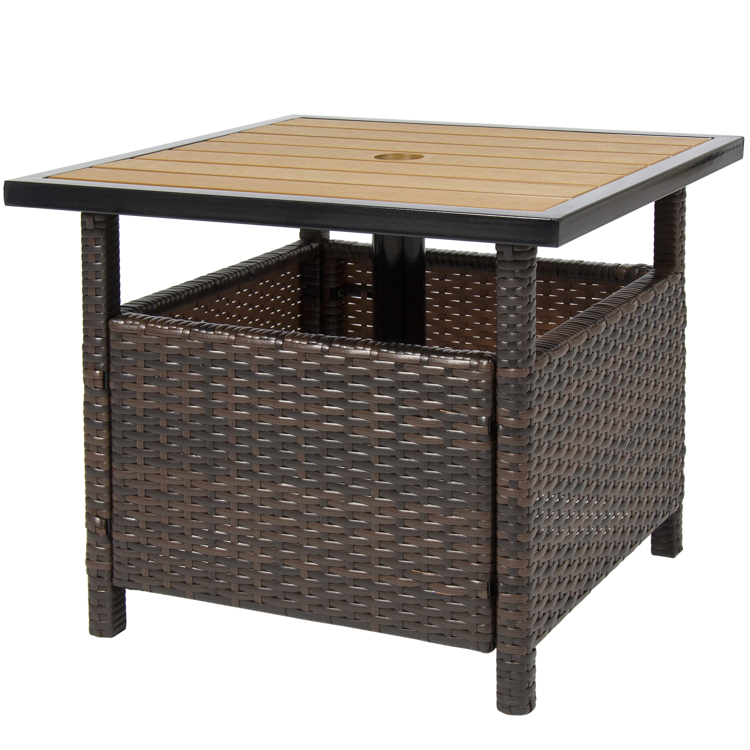 Best Choice Products Outdoor Furniture Wicker Rattan Patio Umbrella Pertaining To Latest Patio Umbrella Stand Side Tables (View 5 of 20)