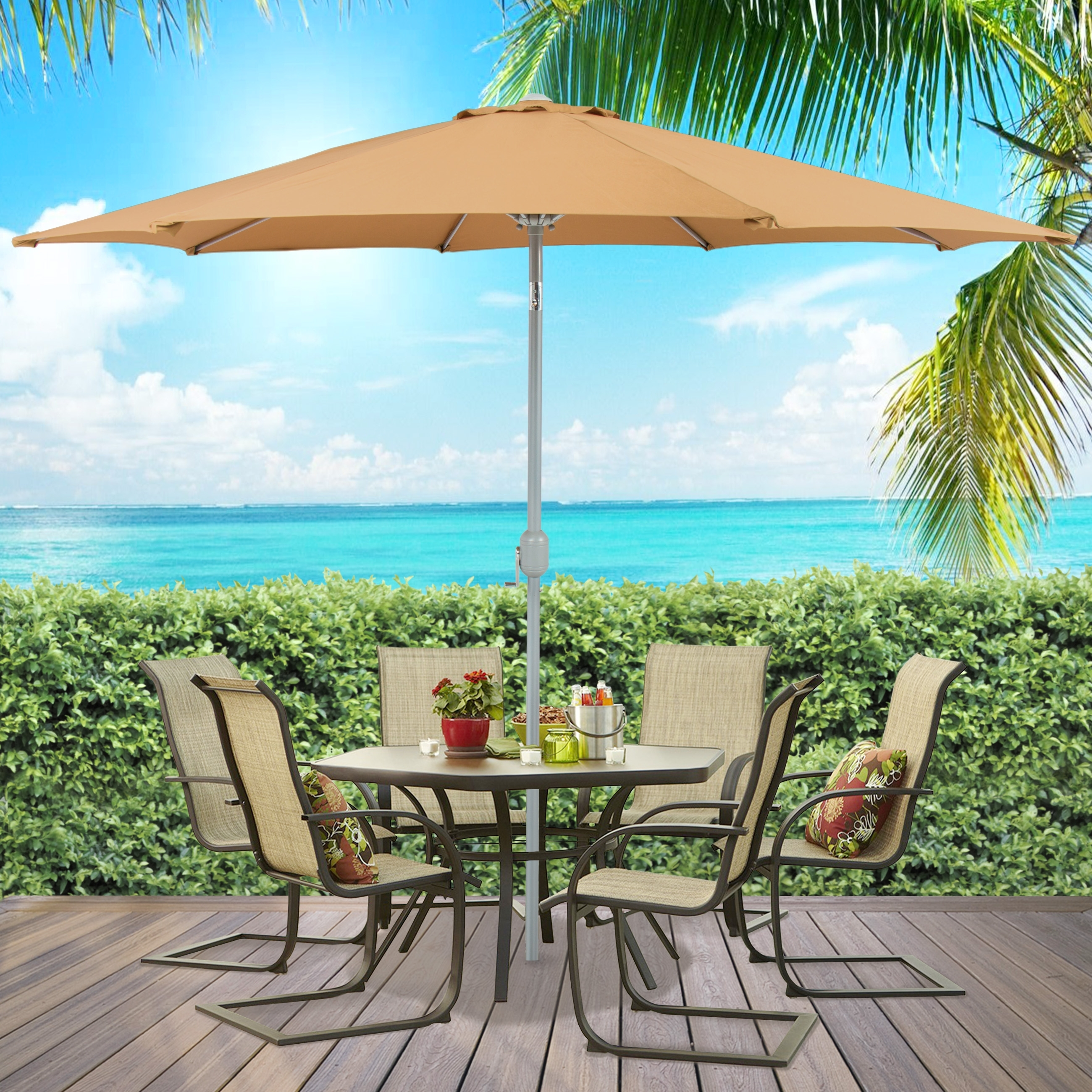 Best Choice Products Outdoor Furniture Wicker Rattan Patio Umbrella Pertaining To Most Up To Date Patio Umbrellas For Tables (View 2 of 20)